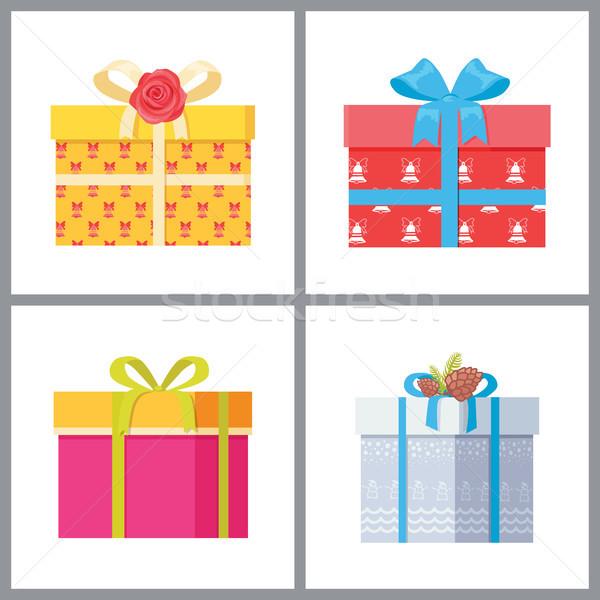 セット スタイリッシュ ギフトボックス 包装紙 装飾的な 弓 ストックフォト © robuart