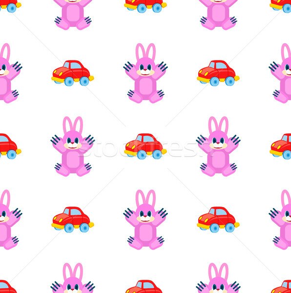 Pink Hares and Red Cars Seamless Pattern on White Stock photo © robuart
