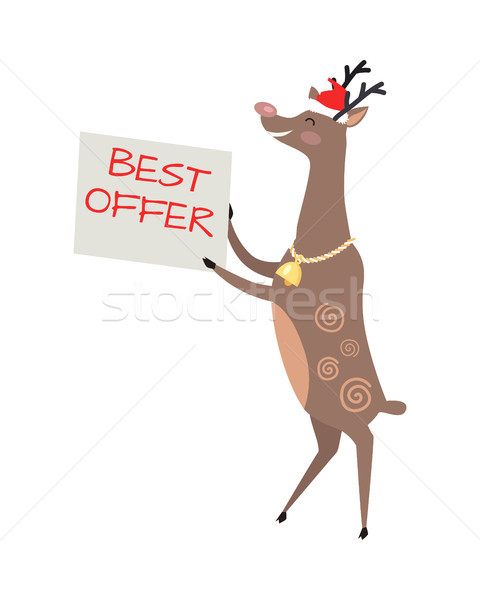 Poster Best Offer Held by Deer on White Background Stock photo © robuart