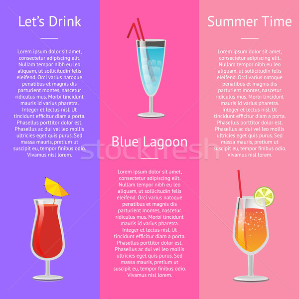 Lets Drink Blue Lagoon Summer Time Banner Text Stock photo © robuart