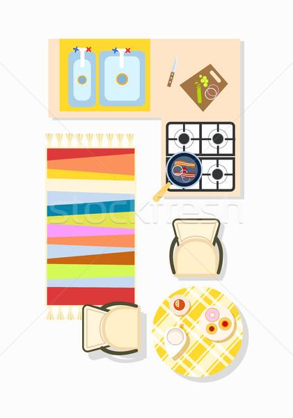 Konyha belső terv ikon tűzhely mosdókagyló szőnyeg Stock fotó © robuart