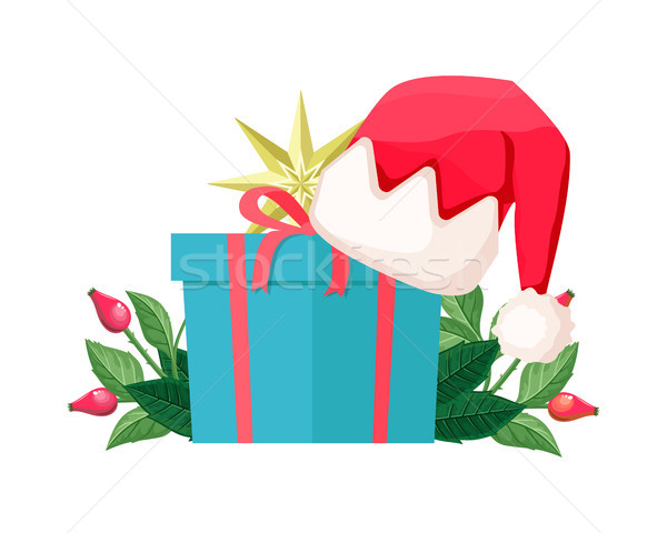 Blue Gift Box Isolated with Santa Hat on Cover Stock photo © robuart