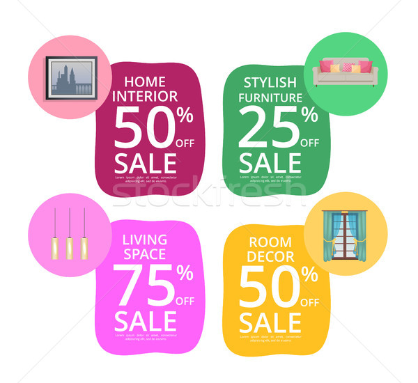 Home Interior Room Decor Living Space Sale Banners Stock photo © robuart