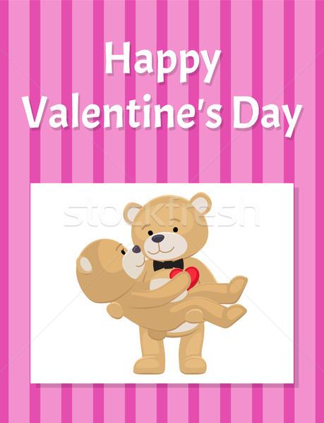 Feliz día de san valentín anunciante osos de peluche Pareja femenino Foto stock © robuart