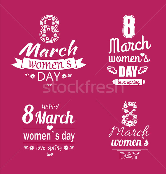 Ladys Day Love Spring 8 March Calligraphy Prints Stock photo © robuart