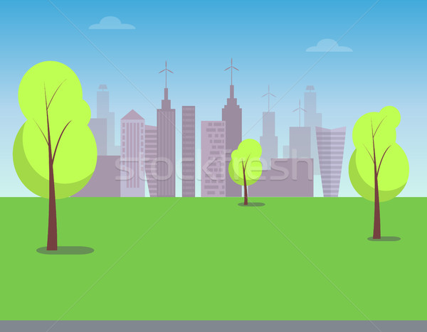 View on Modern City From Green Park, Color Poster Stock photo © robuart