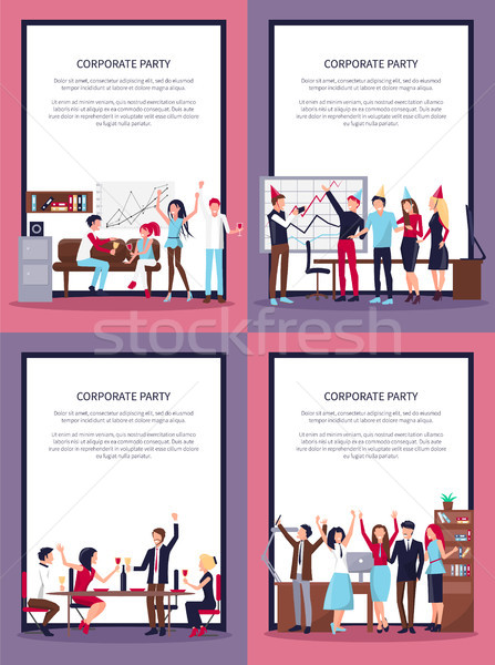 Corporate Party Set of Four Vector Illustration Stock photo © robuart