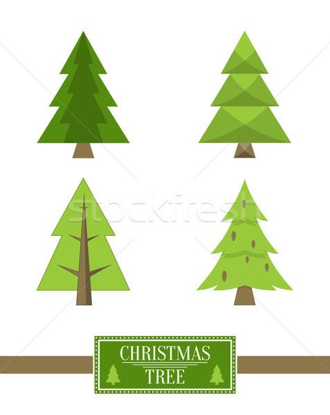 árbol de navidad signo bordo colección ataviar iconos Foto stock © robuart