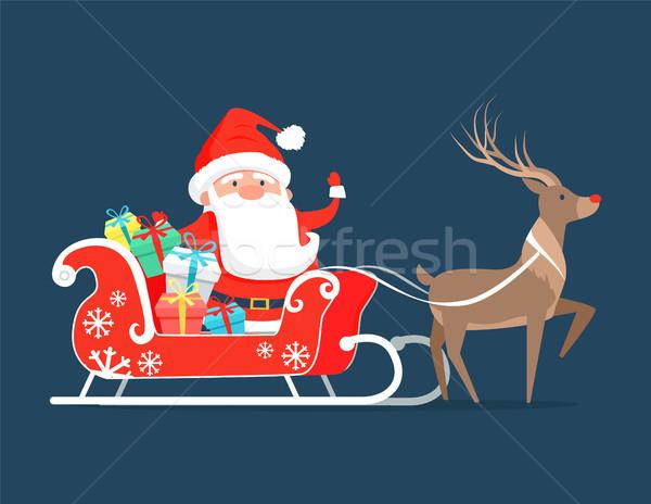 Papai noel trenó rena presentes decorado brilhante Foto stock © robuart