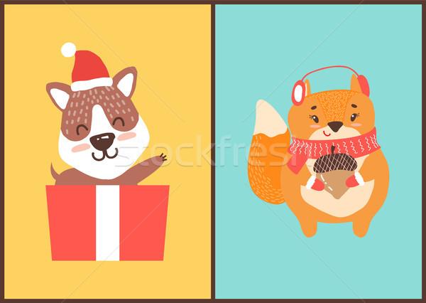 Teddybeer kerstman hoed geschenkdoos eekhoorn hoofdtelefoon Stockfoto © robuart