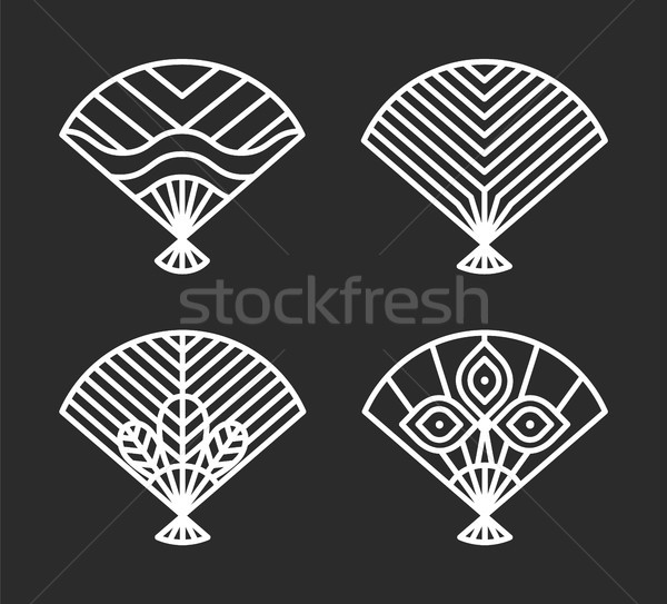 Japanese Icons of Fans Set Vector Illustration Stock photo © robuart