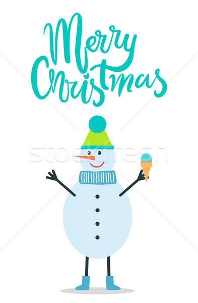 Merry Christmas Greeting Card Snowman Winter Hat Stock photo © robuart