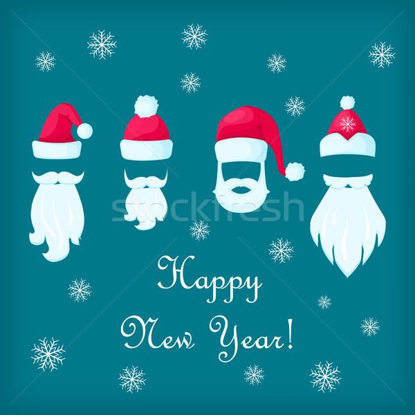 Szczęśliwego nowego roku Święty mikołaj biały plakat wąsy niebieski Zdjęcia stock © robuart