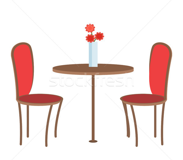 Vide restaurant table trois fleurs vase Photo stock © robuart