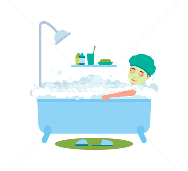 Woman Bathing and Relaxing Vector Illustration Stock photo © robuart