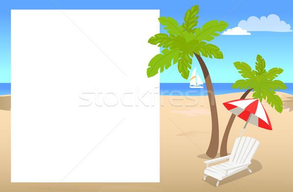 Fényképkeret hely szöveg pálmafák napos tengerpart Stock fotó © robuart