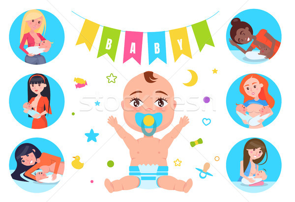 Baby Flags and Breastfeeding Vector Illustration Stock photo © robuart