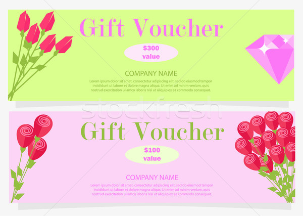 Two Gift Vouchers for 100 and 300 Dollars Flat Stock photo © robuart