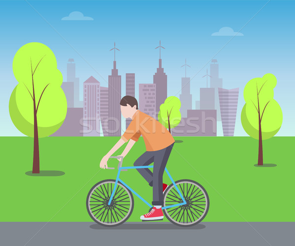 Cyclist in Green Park Color Vector Illustration Stock photo © robuart