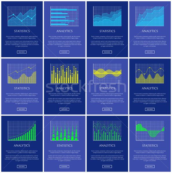Analytics statistiek grafiek lijnen golven graphics Stockfoto © robuart