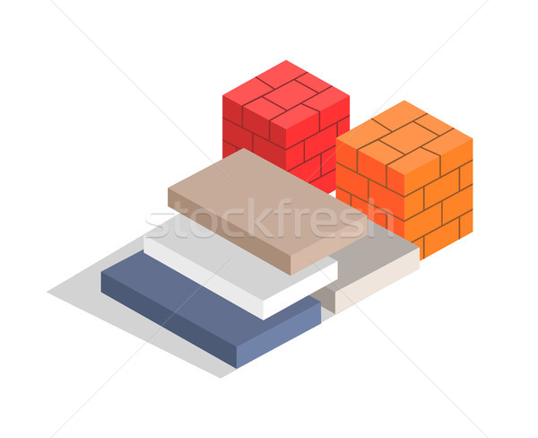 Red and Orange Bricks, Varied Blocks Collection Stock photo © robuart