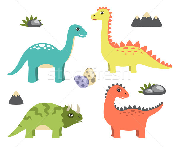 Dinosaurs Collection and Icons Vector Illustration Stock photo © robuart