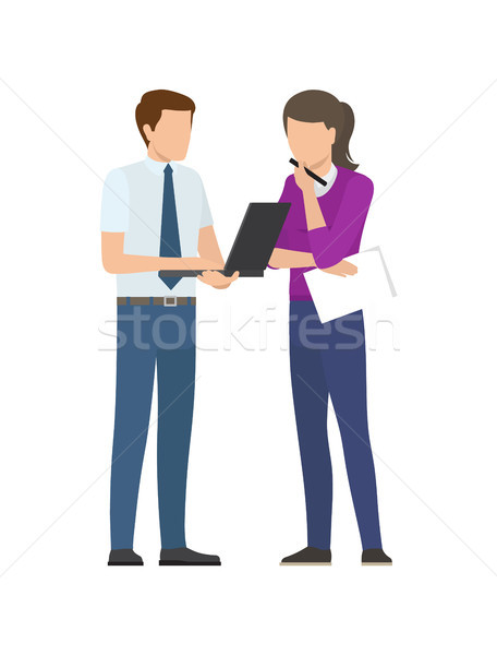 Man Woman Discussing Startup Project Issues Vector Stock photo © robuart