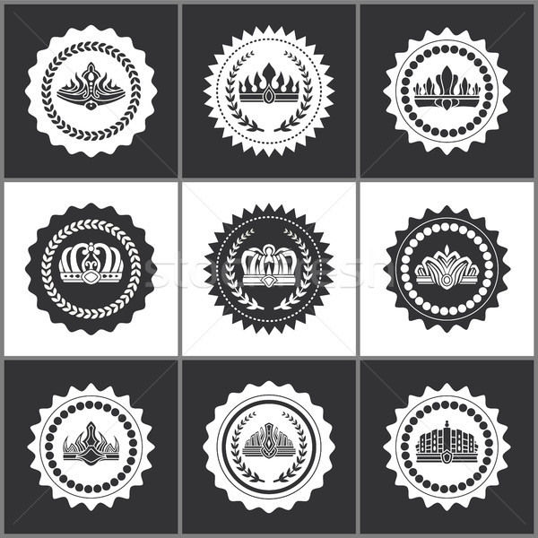Crowns and Diadems on Round Monochrome Stamps Set Stock photo © robuart