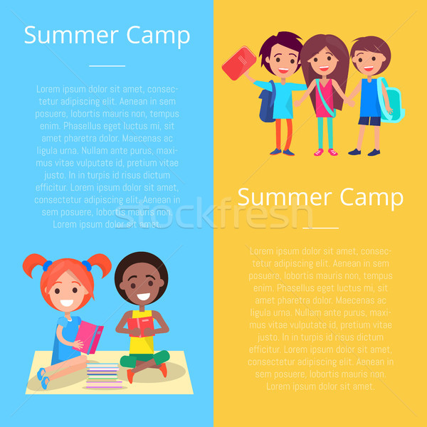Summer Camp Template Poster with Happy Children Stock photo © robuart