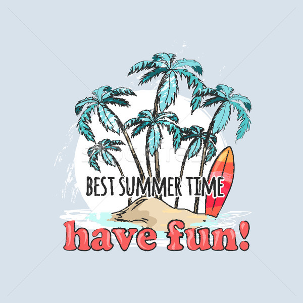 Have Fun in Summer Time Poster with Palms on Beach Stock photo © robuart