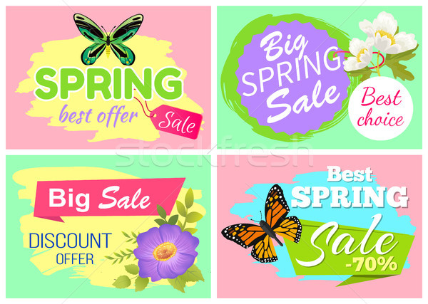 Spring Best Offer Banners Set Vector Illustration Stock photo © robuart