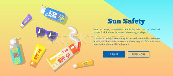 Sun Safety Banner with Text Depicting Seaside Stock photo © robuart