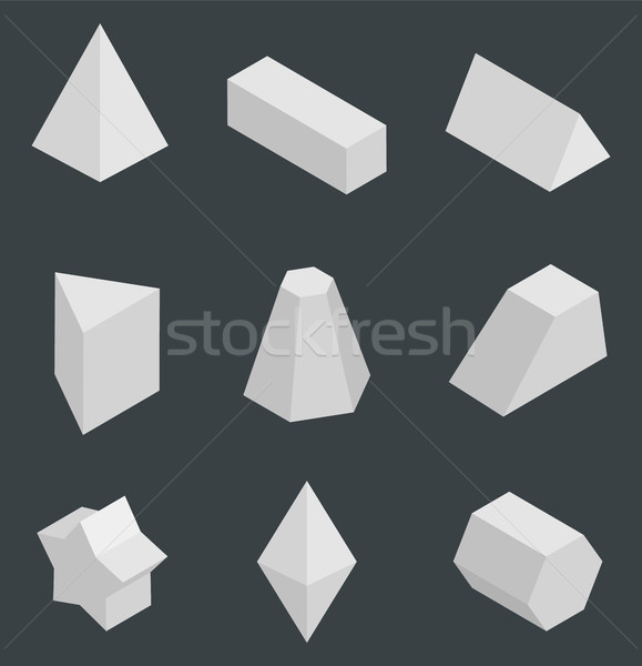Isolated Prisms, Bright Geometric Figures Set Stock photo © robuart