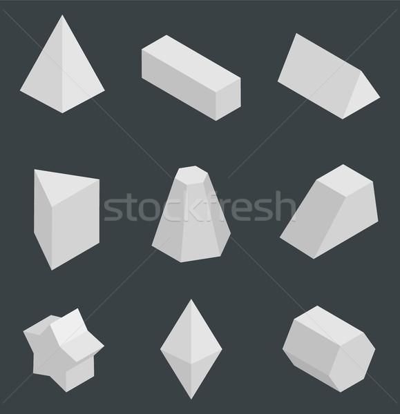 Isolato luminoso geometrica set prisma design Foto d'archivio © robuart