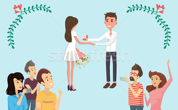 Joyful Bride and Groom on Festive Ceremony Banner Stock photo © robuart
