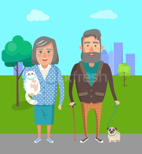 祖父母 お気に入り 犬 おじいちゃん おばあちゃん ペット ストックフォト © robuart