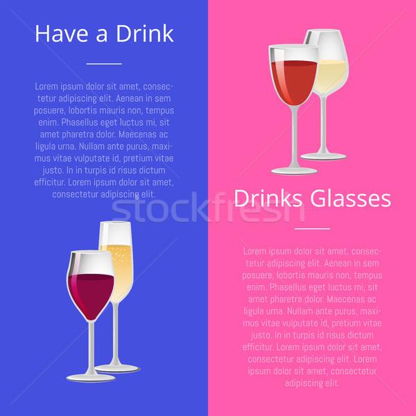 Drinken paar bril posters ingesteld elite Stockfoto © robuart