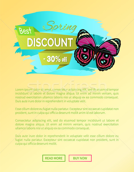 Best Spring Discount 30 Off Label Butterfly Vector Stock photo © robuart