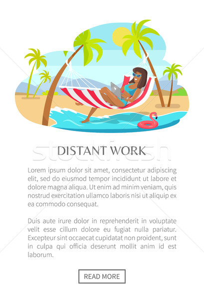 Afgelegen werk web poster vrouw hangmat Stockfoto © robuart