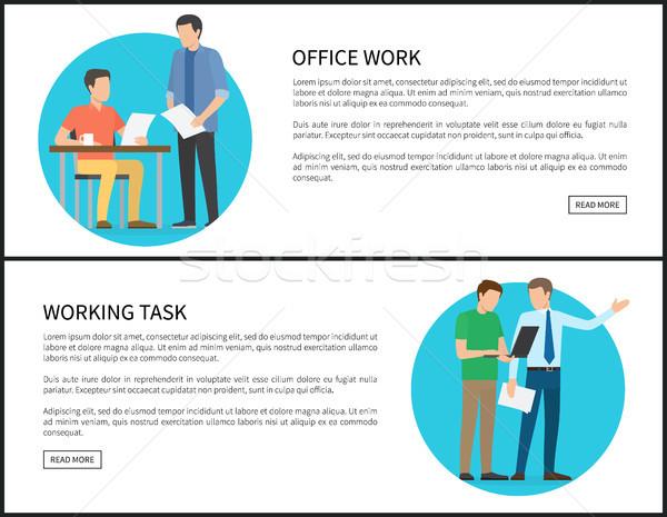 Trabalho de escritório trabalhando tarefa internet banners conjunto Foto stock © robuart