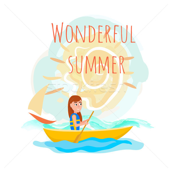 Wonderful Summer Poster with Girl Kayaking Vector Stock photo © robuart