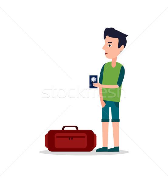 Hombre internacional pasaporte manos equipaje maleta Foto stock © robuart