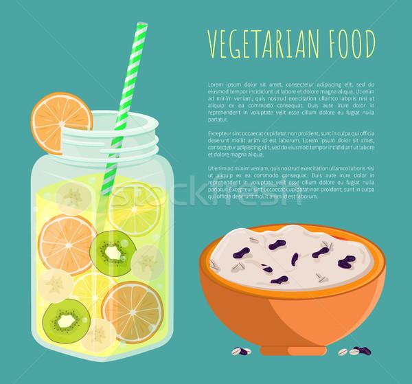 Vegetarian Food Poster Refresh Summer Detox Diet Stock photo © robuart