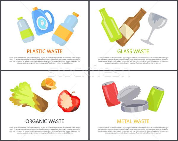 Plastikowe szkła organiczny metal odpadów kolekcja Zdjęcia stock © robuart