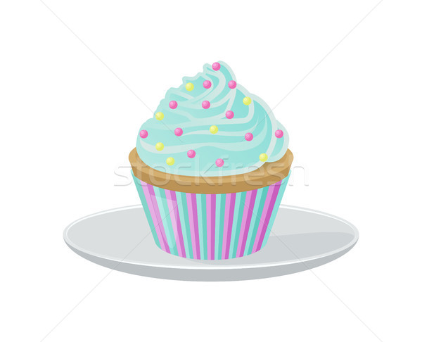 Cupcake with Blue Cream and Bright Round Sprinkles Stock photo © robuart