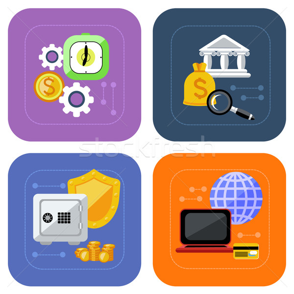 Banking and finance investment icon set Stock photo © robuart