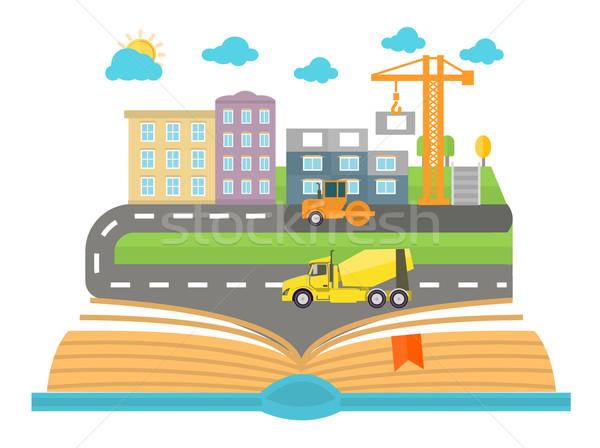 Nyitott könyv város fehér terv autó út Stock fotó © robuart