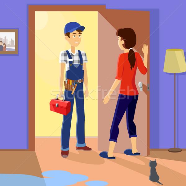 Gospodyni domowa mistrz usługi uniform zawód Zdjęcia stock © robuart