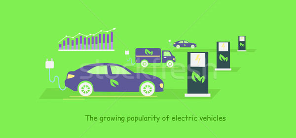 Icon Flat Growing Popularity Electric Vehicles Stock photo © robuart