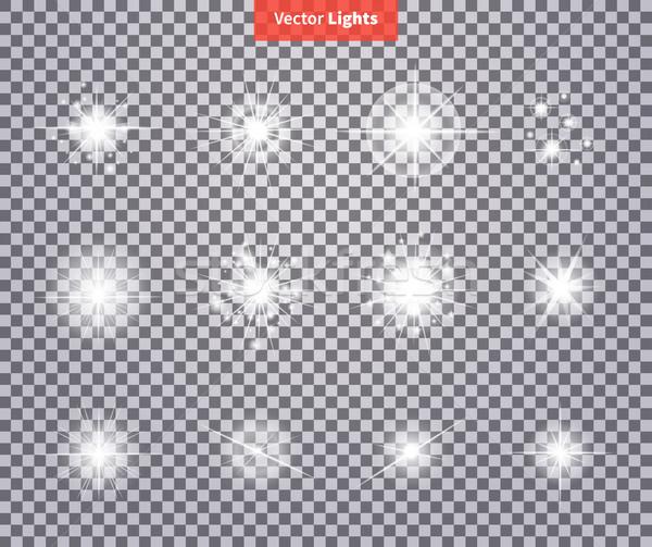 Establecer brillante estrellas luz fuegos artificiales flash Foto stock © robuart
